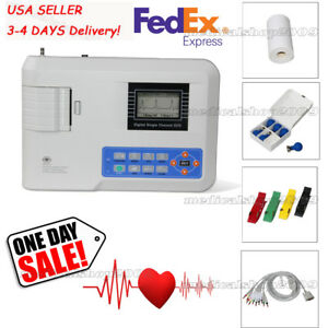 Usa Sale 1 Channel 12 Lead Ecg Ekg Machine Pc Software Printer 3 4 Day Delivery
