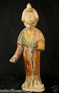 Tang Dynasty Old Tang San Cai Chinese Antique Pottery Woman Figure Statue 680