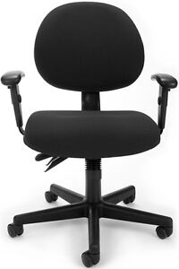 Medical Office Task Chair W arms In Black Fabric clinic Office Multy Task Chair