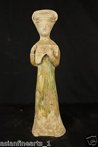 Tang Dynasty Old Tang San Cai Chinese Antique Pottery Woman Figure Statue 677