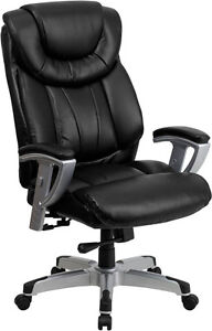 Hercules Series 400 Lb Capacity Big Tall Black Leather Office Chair With Arms