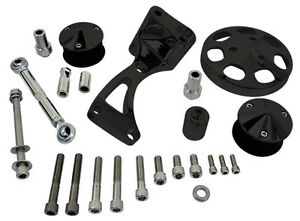 Billet Specialties Black Air Conditioner Pulley bracket For Bbc Conversion Kits