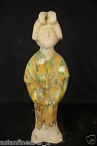 Tang Dynasty Old Tang San Cai Chinese Antique Pottery Woman Figure Statue 676