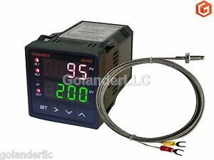Dual Display Digital Pid F c Temperature Controller With K Thermocouple 1 16 Din