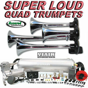 Loud Quad Trumpet Truck Train Air Horn Kit Viair 400c 150psi 2 5g Car Truck All