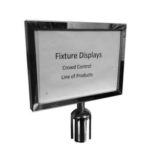 Crowd Control Stanchion Queue Barrier Retractable Post Sign Holder 11x8 5