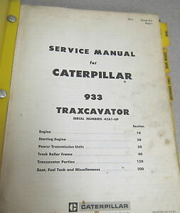 Caterpillar Cat 933 Traxcavator Service Manual 42a1 up 1969