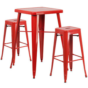23 75 Industrial Restaurant Table Set In Red Metal W bar Table