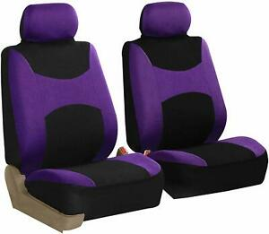 Front 2 Bucket Universal Car Seat Covers Purple For Auto