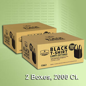 2 Boxes Black T shirt Carry Out Plastic Bags Recyclable Retail Grocery 2000 Ct