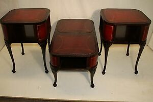 Set Of Chippendale Style Mahogany Coffee Table And 2 Side Tables Signed