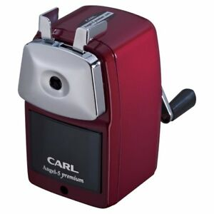 Carl Angel 5 Premium Hand cranked Pencil Sharpener A5pr r red