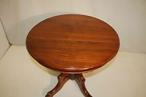 Great Victorian Solid Walnut Round Parlor Table On Casters C 19th Century
