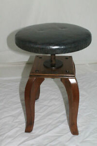 Biedermeier Style Fruit Wood Rare Piano Stool Bench Swivel Seat Circa 1930 S