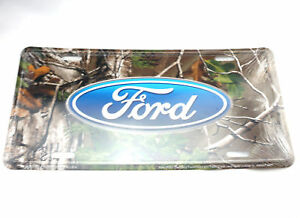 Ford Logo Camouflage Licensed Realtree Metal License Plate F150 Mustang Sign Tag