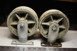 Two 2 Vintage Fairbanks Industrial Factory Cast Iron Metal Wheel Caster 6