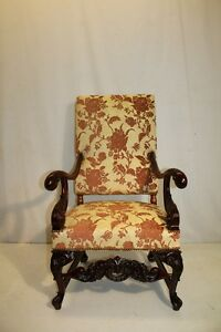 Antique French Louis Xv Mahogany Great Quality Carved Chair New Upholstery