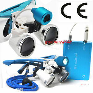Dental Surgical Binocular Loupes 3 5x420 Optical Glass led Head Light Lamp Usa