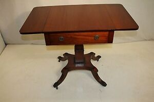 Regency Style Mahogany Inlaid Pembroke Side End Table On Casters