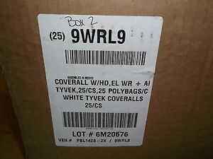 New Tyvek 9wrl9 2xl White Hooded Coverall Safety Suit Case Of 25 6m20676 Pbl1428