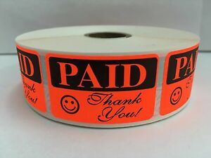 10 000 Labels 1 25x2 Bright Red Paid Thank You Retail Price Point 10 Rolls