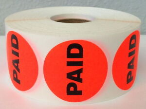 10 000 Labels Bright Red 1 5 Round Paid Retail Price Point Stickers 10 Rolls