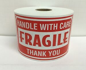 4 Rolls 3x5 Fragile Handle With Care Shipping Warning 500 Labels Each Roll