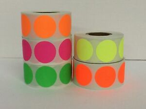 5 Rolls Round 3 Inch Color Coding Inventory Sticker Dots 500 Labels Each Color