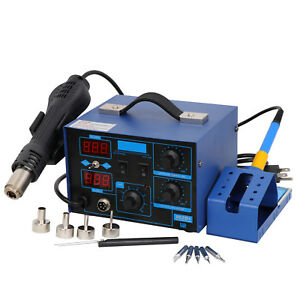 Station 862d Iron Hot Air Gun 2 In1 Desoldering Station Soldering 4 Nozzles