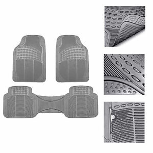 Car Floor Mats For All Weather Rubber 3pc Set Tactical Fit Heavy Duty Gray