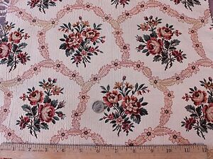 Antique French Silk Jacquard Home Dec Fabric C 1910 Roses In Cartouche Layout