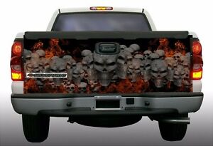 Flaming Fire Skulls Truck Tailgate Vinyl Graphic Decal Wrap