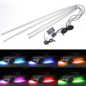 7 Color 5050 Led Underbody Under Car Lights Kit Remote Sound Activate Effect