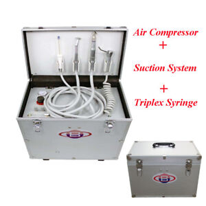 Portable Dental Turbine Unit Air Compressor suction System Triplex Syringe