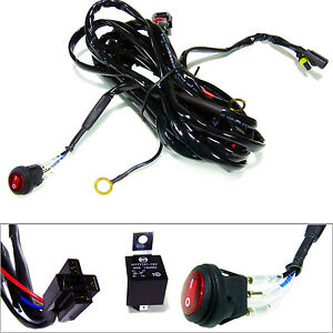 Offroad Led Work Light Bar Wiring Harness Fuse Relay Kit 40amp 12v On Off Switch