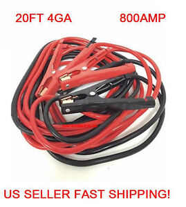 C05 20 Ft 4 Gauge Heavy Duty Battery Booster Cable Jumping Cables Power Jumper