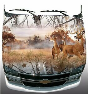 Snow Winter Camouflage Deer Buck Hunting Hood Wrap Sticker Vinyl Decal Graphic