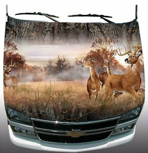 Forest Camouflage Deer Buck Hunting Hood Wrap Sticker Vinyl Decal Graphic