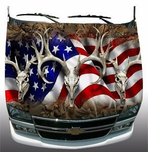 Grass Camo American Deer Skull Hunting Hood Wrap Sticker Vinyl Decal Graphic