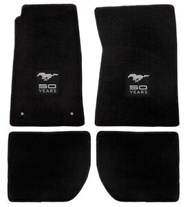 New 1964 1973 Ford Mustang Black Floor Mats With Logo Set Of 4 Carpet 50 Years