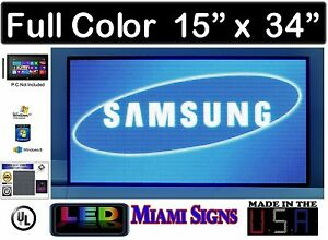 Full Color Led Sign Programmable Videos Logos And Images Size 15 X 34 Led 5mm
