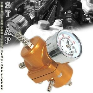 Jdm Universal Adjustable 1 To 140 Psi Fuel Pressure Regulator With Gauge Gold