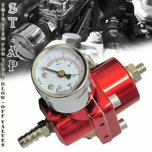 Universal Aluminum Adjustable 1 140 Psi Fuel Pressure Regulator Gauge Hose Red