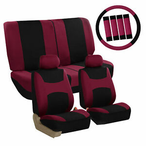 Car Seat Covers Burgundy Full Set For Auto W Steering Wheel Belt Pad 4head Rest