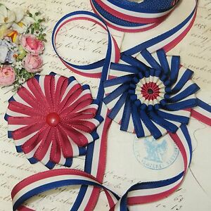 5y Vtg Red White Blue Flag Ribbon Trim Patriotic Antq Cocarde 4th July Hat Wor
