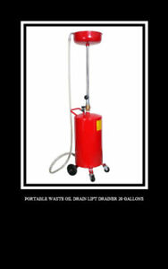 20 Gallons Waste Oil Drain Capacity Tank Air Operate Drainer Portable Hose