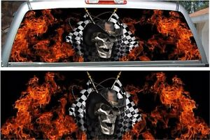 Fire Flame Racing Skull Rear Window View Thru Graphic Decal Wrap