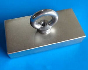 Super Strong Large Block Neodymium Magnet N52 100 X 50 X 20 Mm With 10mm Hole