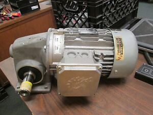 Nord Ac Motor W Gear 90s 4 Cus 1 5hp 1660 Rpm 230 460v 4 84 2 42a Used