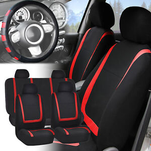 Car Seat Covers Red Black Full Set For Auto W red Leather Steering Wheel